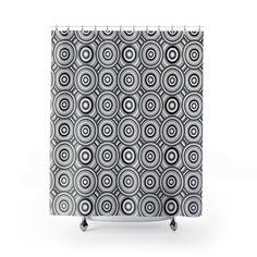 BLACK GRAY GEOMETRIC Shower Curtain Bathroom Decor