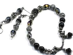 Black Onyx NECKLACE BRACELET EARRINGS Heavily encrusted with intricate beads by Chris of FantasyDesign, $127.00