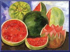 'Viva la Vida, Sandias (Live the Life)' - 1954 - by Frida Kahlo (Mexican, 1907-1954) - Oil on masonite - 59.5x50.8 cm. - Frida Kahlo Museum Mexico City, Mexico - The Last Painting of Frida Kahlo Frida E Diego, Diego Rivera Frida Kahlo, Frida Art, Klimt, Art Fauvisme, James Ensor, Kahlo Paintings, Mexican Artists, Matisse