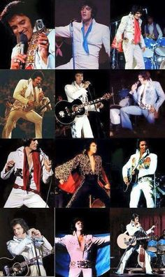 A collage of many of Elvis jumpsuits