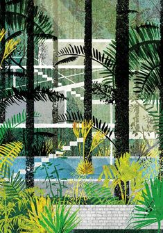 London-based Daniel Clarke: Modernist architecture as pattern. This design is called 'Biophilia'.