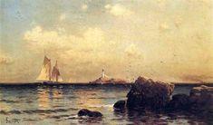Mule Island, Isle of Shoals, huile sur toile de Alfred Thompson Bricher (1837-1908, United States)