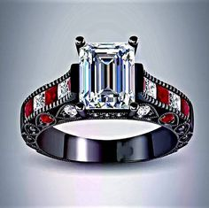 Diamond and Ruby Harley Quinn Inspired Black Rhodium Engagement Ring
