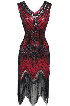 d9105b36907 BABEYOND Women's Flapper Dresses 1920s V Neck Beaded Fringed Great Gatsby  Dress | Clothing, Shoes