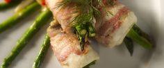 Rødspætte i bacon med asparges