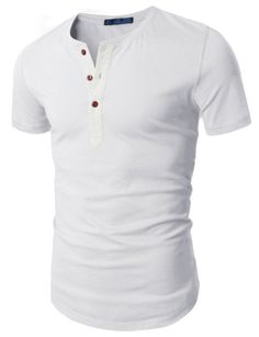Doublju Mens Henley T-shirts with Short Sleeve:Amazon:Clothing
