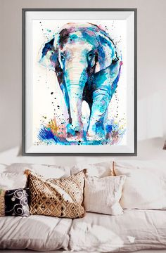 Asian Elephant watercolor painting print animal by SlaviART