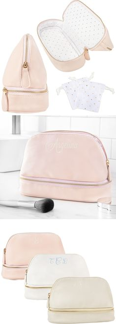 Available in 3 colors, roomy vegan leather cosmetic bag personalized with choice of name, initial or monogram gives easy access to makeup, toiletry items and jewelry. 3 Letter, Letter Monogram, Bridesmaid Gifts, Bridesmaids, Cosmetic Case, On Your Wedding Day, Maid Of Honor, Pouches, Zippers