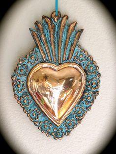 Stunning SACRED HEART 9.5 oxidized large milagro by mariposafuerte