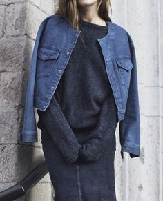 denim jacket with less trim (removed collar)