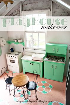 Tiny Playhouse With Mint Green Cabinets C Painted Floor Chalkboard Wainscoting And Vintage Accessories