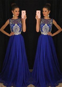 Gorgeous Dark Royal Blue Sleeveless 2017 Evening Dresses Long Chiffon With Appliques Beadings