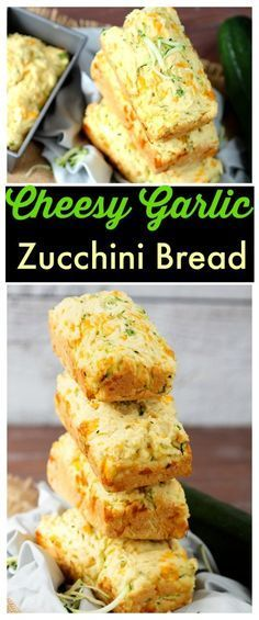 Delicious homemade fresh zucchini bread with cheddar cheese and garlic. Simple tasty recipe is the perfect summer appetizer or side to every meal.: