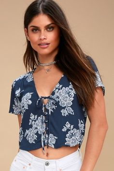 561f13bc353e Flying High Navy Blue Floral Print Crop Top 2 Floral Tops
