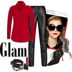 GLAM: 'Currants' red silk blouse, ' Sleek' black leather pant | Etcetera Holiday Collection Black Leather Pants, Red Silk, Fashion Ideas, Fashion Beauty, Elegant, Blouse, Fall, Winter, Holiday