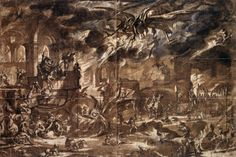 Jacques Callot – Study for Temptation of St. Anthony. 1634  #jacques callot#callot#st. anthony#temptation#devil#hell#grotesque#study#landscape