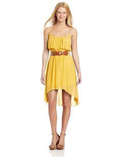 As U Wish Gauze Hi Lo Belted Dress Yellow
