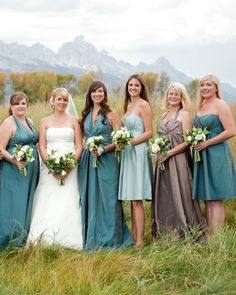 Sticking to the color palette, each bridesmaid chose a Jim Hjelm gown that was fitting to her personal style Mismatched Bridesmaid Dresses, Bridesmaid Dress Colors, Wedding Bridesmaids, Wedding Dresses, Teal Dresses, Bridesmaid Ideas, Blue Bridesmaids, Taupe Wedding, Martha Stewart Weddings