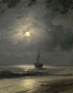 Artwork by Ivan Aivazovsky, A ship at anchor, Made of oil on canvas