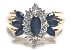 Sapphire Diamond Marquis Women's Ring 0.05CTW Size 6 14KT Yellow Gold GV89213 #NA #Band