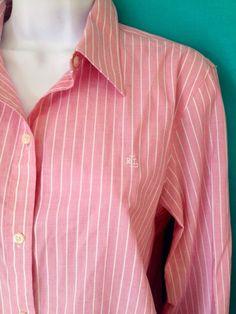 RALPH LAUREN Womens L Pink & White Striped Non-Iron L/S Shirt Embroidered Logo #LaurenRalphLauren #ButtonDownShirt #Career
