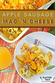 This mac and cheese recipe is made with apple cider, sausage, and apples! Follow all of our boards for more fall recipes!