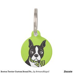 Sold! Thank you to the customer and enjoy! Boston Terrier Custom Round Pet Tag Pet Name Tag; Abigail Davidson Art; ArtisanAbigail at Zazzle