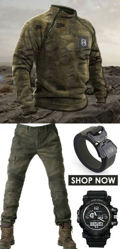 Explore more men outdoor outfits idea of pants, coats, belts, hats... #fall #outdoor #outfits #camo
