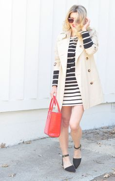I need that classic B&W stripe shift dress in my closet STAT!    Springtime Classics | Black, White, Red, Topped with a Trench
