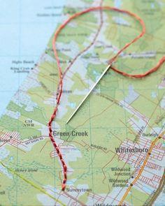 Erinnerungen auf der Landkarte festhalten – mit Nadel und Faden