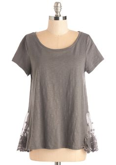 Follow That Daydream Top - Mid-length, Cotton, Knit, Lace, Grey, Lace, Casual, Short Sleeves, Scoop, Grey, Short Sleeve