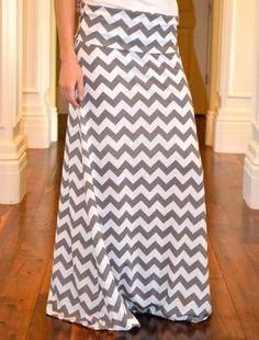 Gray and White Chevron Maxi Skirt - Adjustable Womens Maxi - Chevron Maxi Dress. $50,00, via Etsy.