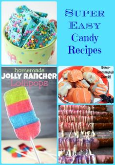 Check out all these super easy candy recipes. These would be perfect to try over the upcoming holiday season! We love edible gifts! Easy Candy Recipes, Snack Recipes, Dessert Recipes, Yummy Treats, Delicious Desserts, Sweet Treats, Best Junk Food, Candy Popcorn, Homemade Candies