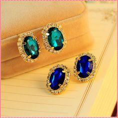 Women Stud Earring Crystal Gold Plated Blue Green Rhinestone Jewelry FREE SHIPPING