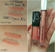 Nars orgasm lipgloss dupe covergirl give me guava Beauty Dupes, Beauty Makeup Tips, Beauty Hacks, Beauty Products, Makeup Products, Makeup 101, Makeup Goals, Makeup Geek, Body Products
