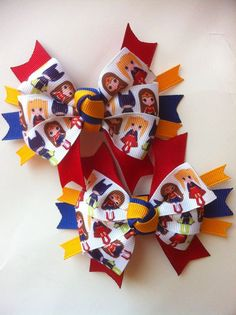 Super Hero Girl pig tail hair bows Girl by 3piggytailsboutique, $9.50