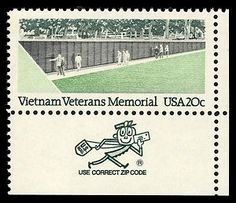 Vietnam Veterans Memorial in Washington, D.C., honoring the men and women of the armed forces who served in the Vietnam war. This stamp was issued in 1984. Mr. Zip makes a guest appearance!