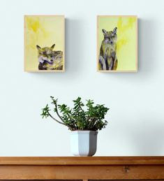 Woodland fox art - original yellow fox paintings for a modern animal lover's home decor by Caroline Skinner Art. Available to buy separately or together, or get prints at www.carolineskinnerart.co.uk. Take a look today! #foxart #foxlover #yellowanimalpaintings Fox Painting, Yellow Painting, Painting Frames, Yellow Animals, British Wildlife, Artwork Online, Fox Art, Shades Of Yellow, Yellow Background
