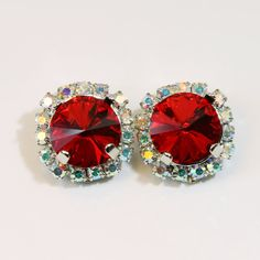 Red Clip on earrings Ruby Red Swarovski Crystal Clip On Earrings Christmas Holidays AB Halo Red rhinestones Red Clips,Silver,Light Siam,SE97