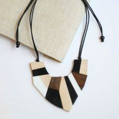 Modern Black, White and Wood Collar