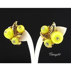 Earrings Yellow Lucite Rhinestone Berry (69 ILS) ❤ liked on Polyvore featuring jewelry and earrings