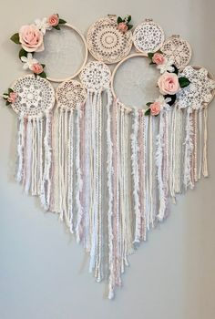 This item is unavailable - Floral dream catcher collage/mural image 2 - Dream Catcher Decor, Dream Catcher Boho, Doily Dream Catchers, Dream Catcher Nursery, Crochet Wall Art, Doily Art, Doilies Crafts, Shabby Chic Interiors, Macrame Art