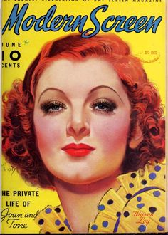 """Myrna Loy on the front cover of """"Modern Screen"""" magazine, USA, June 1936."""