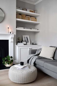a modern & playful pouf OYOY& sit on me round pouf looking very at home in Abi Dare& calm and serene living room. Ideal footrest or extra seating for cosy nights in. Free delivery from someday designs. Styling & photography by Abi Dare of These Four Walls Living Room Seating, Living Room Grey, Home Living Room, Living Room Designs, Colours For Living Room, Cosy Living Room Decor, Front Room Decor, Grey Walls Living Room, Living Room Shelves