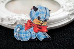 Kitten toy wooden brooch cute woodland cat dog red by DinaFragola