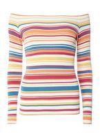 Womens Multi Stripe Bardot Jumper- Multi