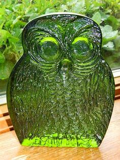 Blenko Glass Owl Bookend - Still have two in blue!