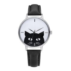 [US$4.99] Cartoon Cat Leather Strap Women Watch #cartoon #leather #strap #women #watch
