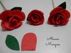 Rosa de feltro #6 - Artesanato - Passo a passo Felt Flowers Patterns, Felt Crafts Patterns, Fabric Flowers, Fabric Crafts, Paper Flowers, Rose Crafts, Flower Crafts, Diy And Crafts, Little Prince Party