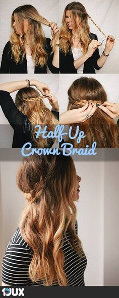 Quick And Easy Hairstyles For School : Best Hair Braiding Tutorials Half Up Crow. Quick And Easy Hairstyles For School : Best Hair Braiding Tutorials Half Up Crown Braid Step By Step Easy Hair Brai Braided Hairstyles Tutorials, Pretty Hairstyles, Cute Hairstyles, Hair Tutorials, Braid Hairstyles, Wedding Hairstyles, Perfect Hairstyle, Hairstyle Ideas, Amazing Hairstyles